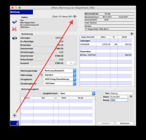 Entriegeln Sie die Rechnung und wählen Sie im Aktionsmenu 'Datum ändern'.