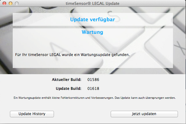 Ein Wartungsupdate ist verfügbar und kann installiert werden.
